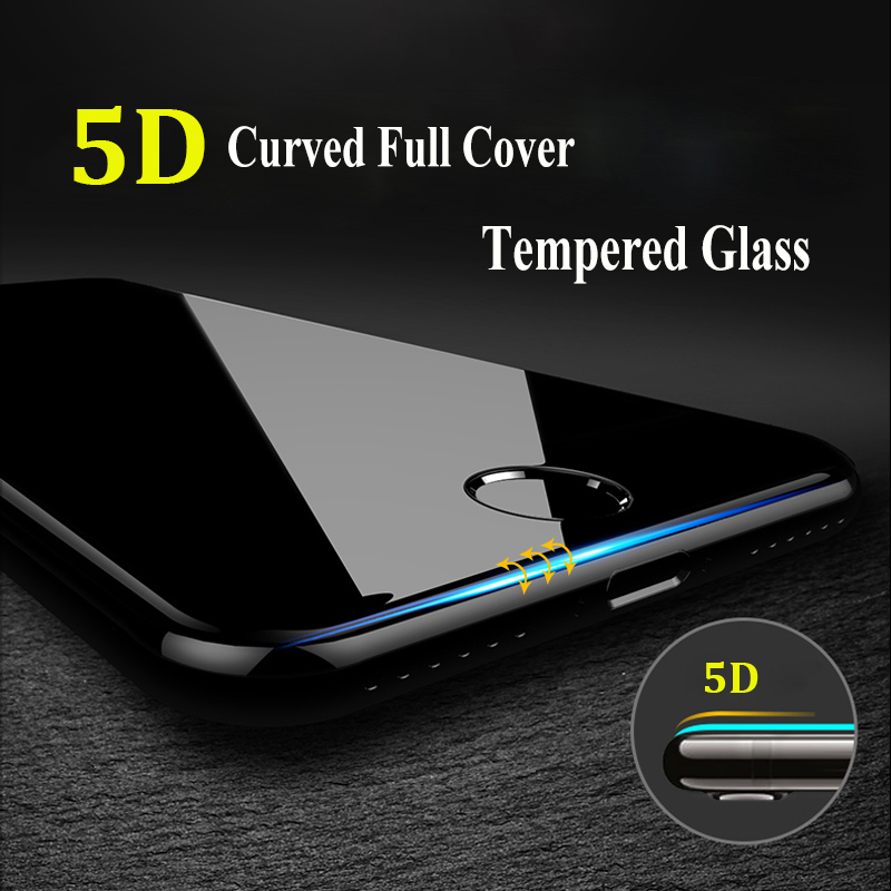 5D 9H Καμπυλωτό άκρο Πλήρης κάλυψη Κατεργασμένο γυαλί για iPhone 7 6 6S 8 Plus X XR XS 11 Pro Μέγιστη προστασία οθόνης Προστατευμένο προστατευτικό κάλυμμα
