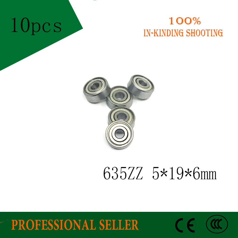 Free Shipping 10PCS 635ZZ Ball Bearing 5*19*6 Mm Deep Groove Ball Bearing 635 ZZ 635-2Z 5X19X6mm