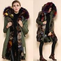 2015 высокое качество куртка парка, Army Green сексуальные натуральным лисьим лайнер пальто, Китай меховой капюшон куртки поставщиков