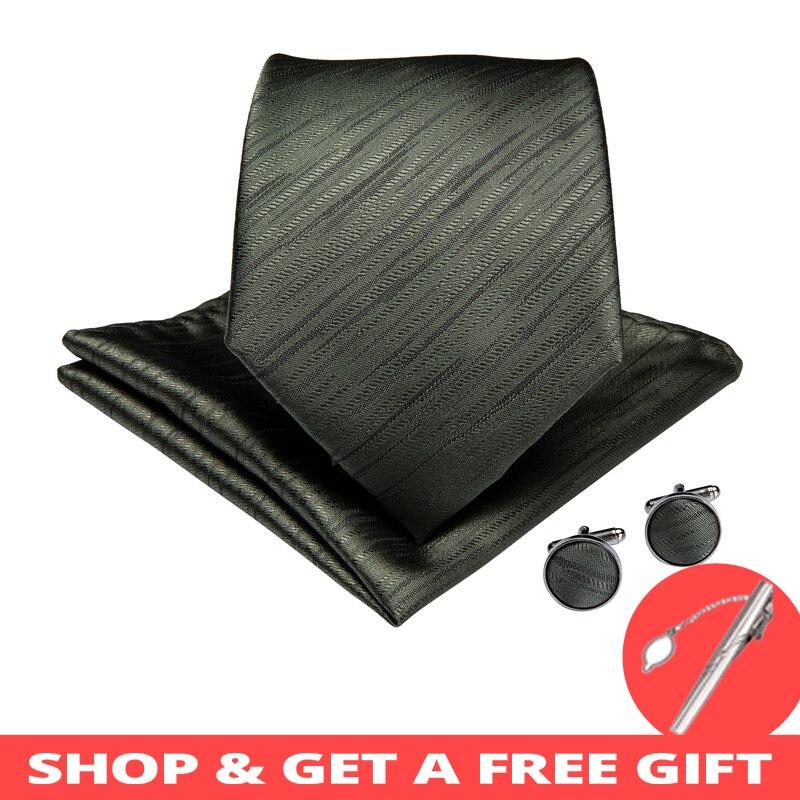DiBanGu Classic Green Solid Men Gifts Tie Clip 100% Silk Ties Hanky Cufflinks Tie Business Wedding Party Tie Set MJ-7226