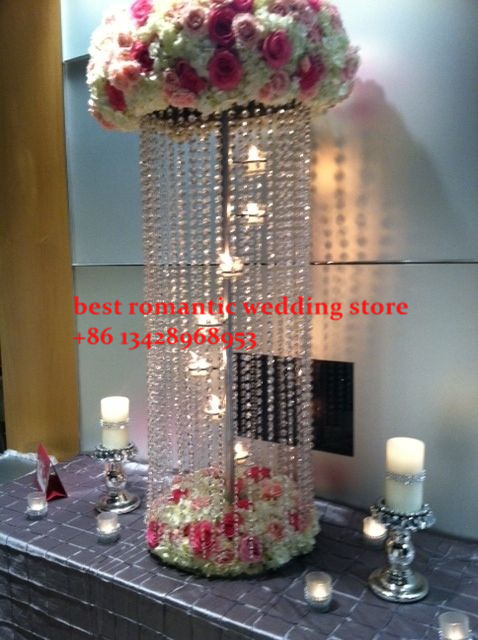 10pcs top grade 100cm tall crystal wedding centerpiece with candle ...