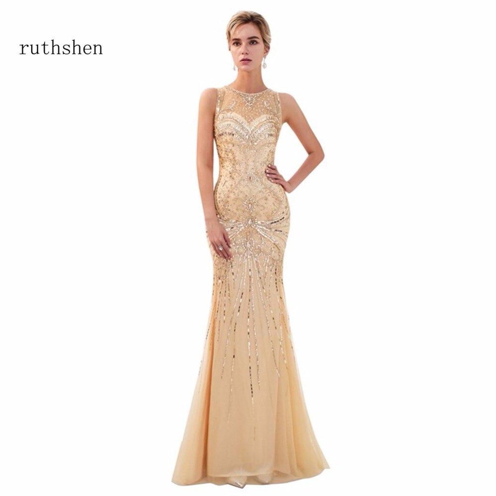 ruthshen Hot Sale Prom Dresses Scoop Neck Mermaid Long Floor Length ...