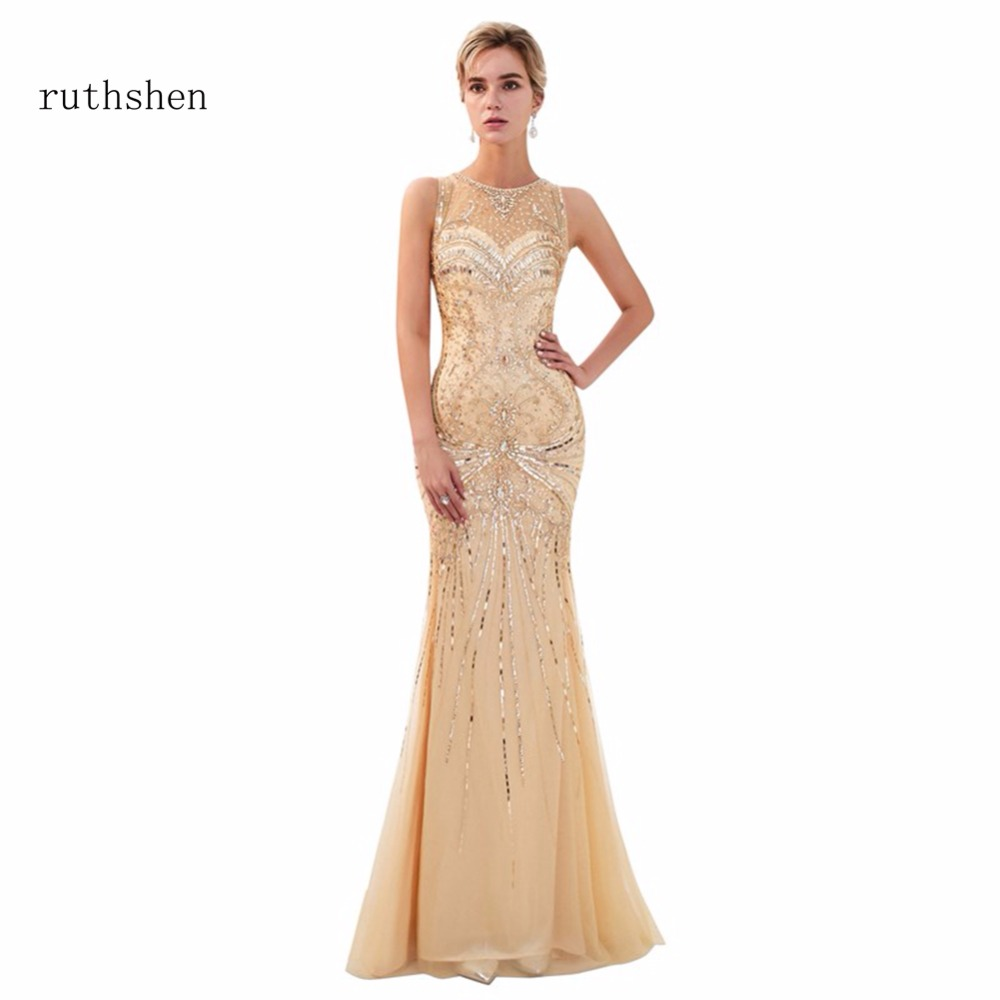 ruthshen Hot Sale   Prom     Dresses   Scoop Neck Mermaid Long Floor Length Formal Evening   Dress   In Stock Party Gowns With Sleeveless