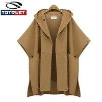 Europe 2018 Winter New Hooded Cloak Bat Wing Sleeve Woolen Coat Women Plus Size Loose Outerwear Wool Jacket Poncho Abrigos Mujer