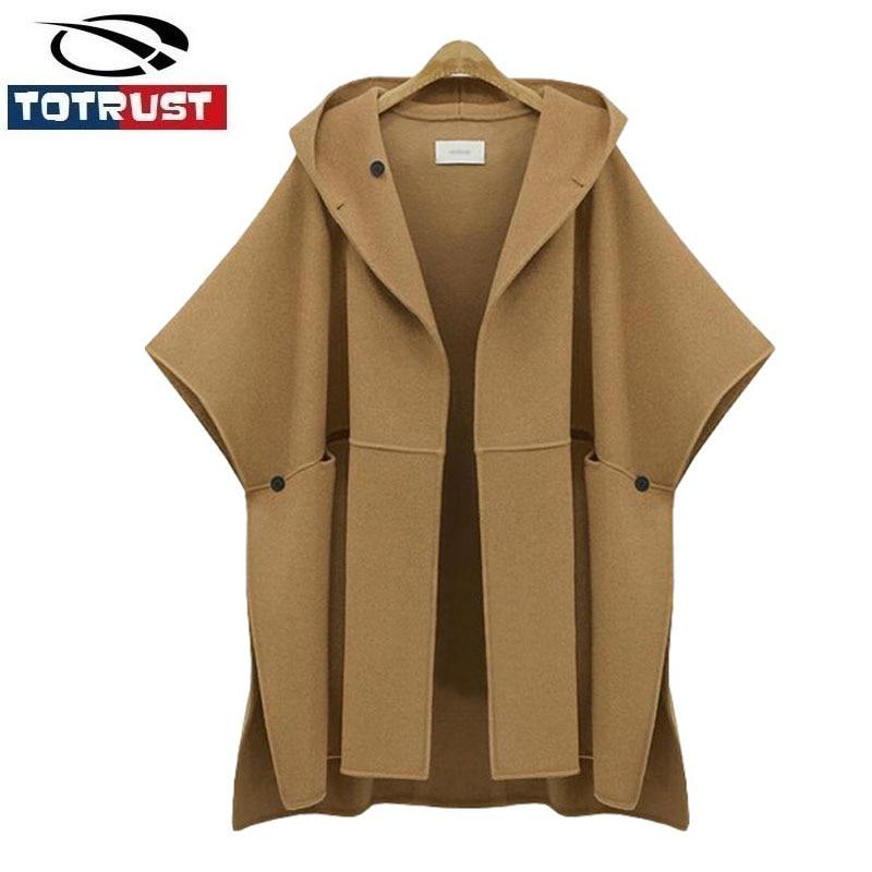Europe 2018 hiver nouveau manteau à capuche chauve-souris aile manches manteau en laine femmes grande taille vêtements coupe large veste en laine Poncho Abrigos Mujer