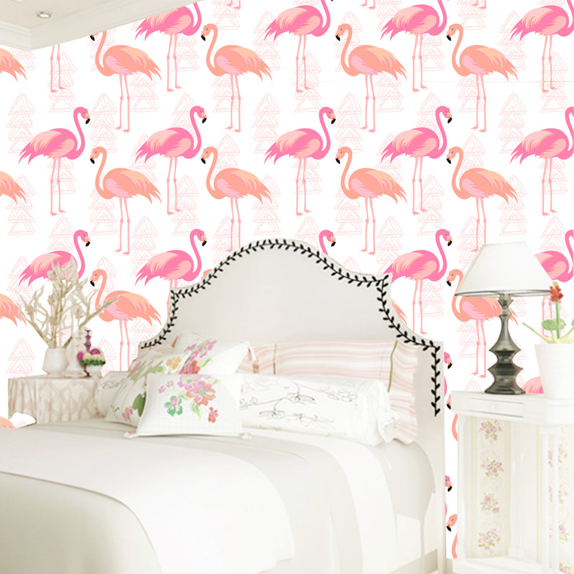 Custom wallpaper 2017 pink flamingo birds pattern mural wallpapers for bedroom walllpaper hotel mural for wall decor fashion letters and zebra pattern removeable wall stickers for bedroom decor