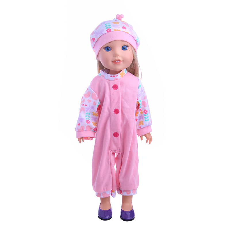 Pink cotton pajamas fit for 14.5inch American girl doll WellieWishers,Children the best Christmas gift