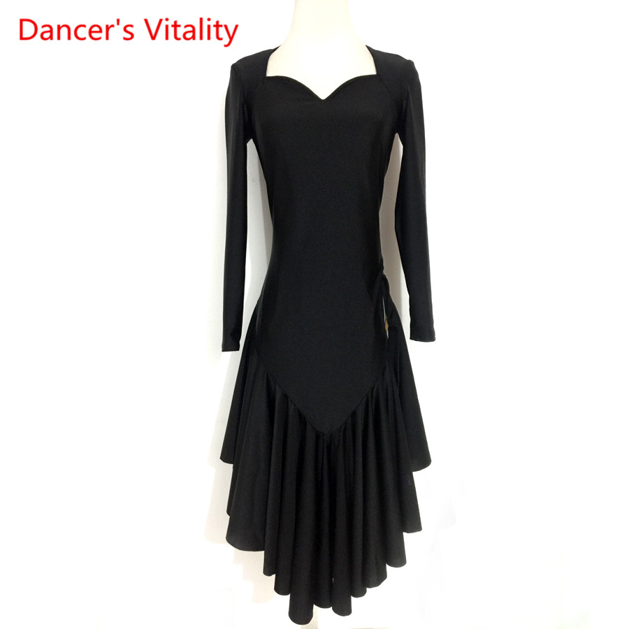 2018 Custom Made New Latin Dance Dress Performance Clothes Long Sleeves Ruffle Dresses Women Latin Dance Performance Costume