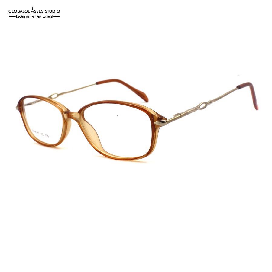 Vintage Oversized Lens Acetate Frame Women Crystal Brown Color Metal Temple Flex Hinge Prescription Spectacle Glass Frame ZS246