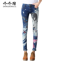 DONGDONGTA New Autumn Fashion Jeans Woman Painted Pattem Low Waist Full Length Zipper Slim Fit Skinny
