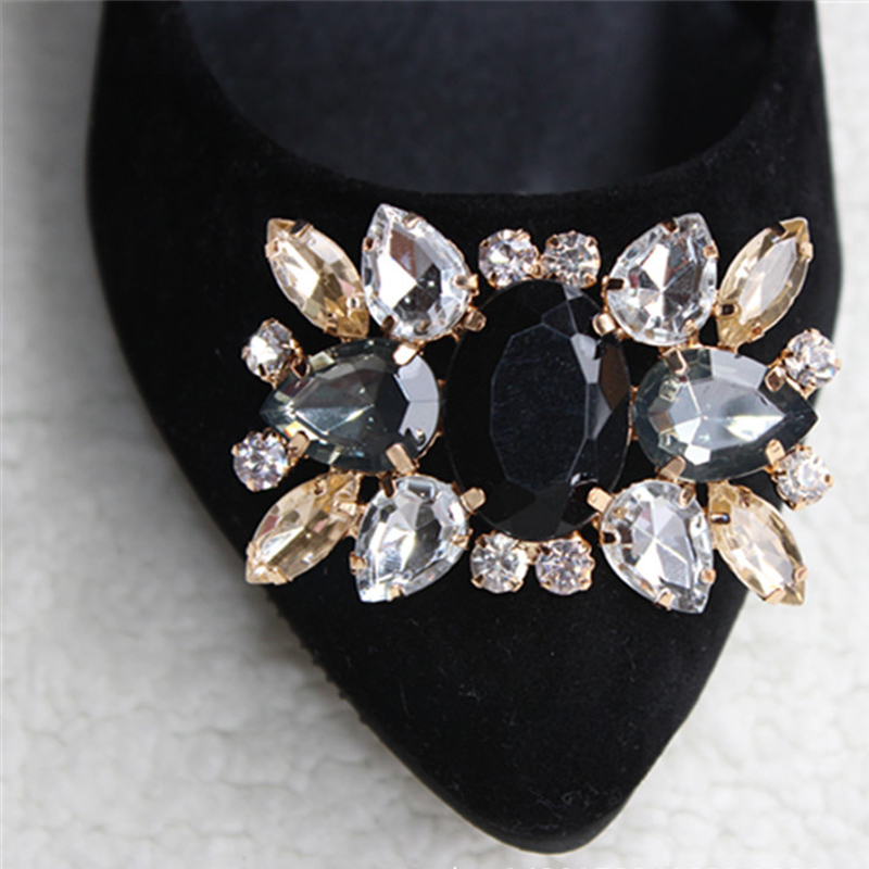 BSAID1Pcs Alloy Glass Drill Shoes Buckle, Bridal Wedding Shoes Decorative,Fashion Shoe Accessories, Charm Rhinestone Shoe Clips
