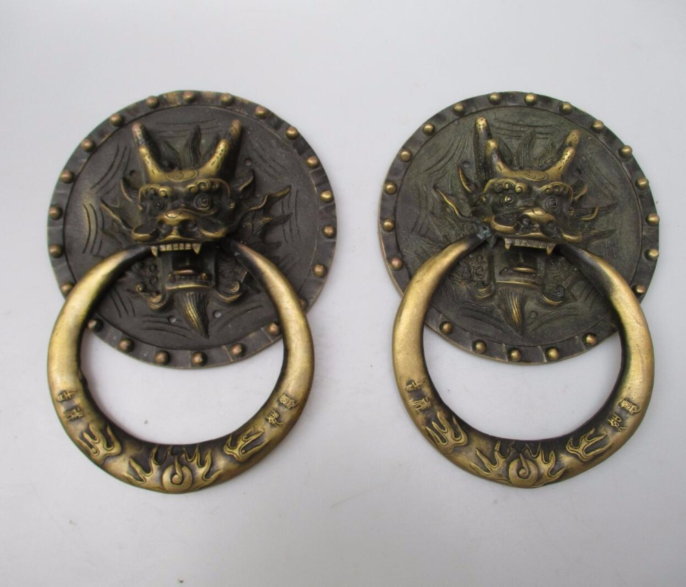 Collectible Home Decorated Crafts 1 Pair Chinese Handwork Old Brass Big Dragon Door Knocker style 0006