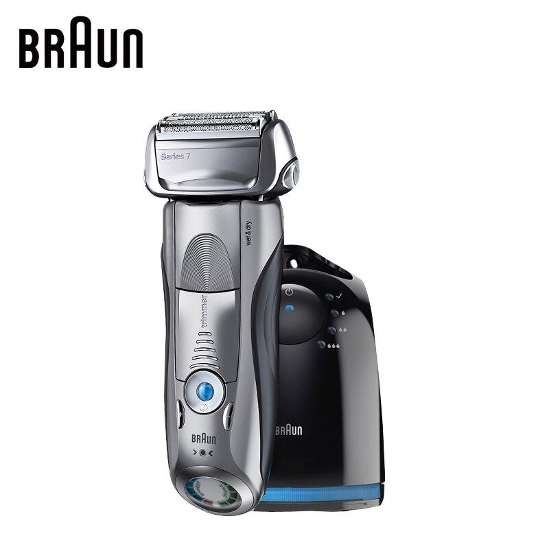Braun Afeitadora eléctrica 7865cc para hombres recargable Seguridad Maquinillas de afeitar serie 7 afeitar vaivén recto Maquinillas de afeitar máquina de afeitar