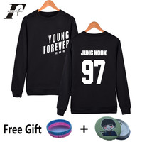 Kpop BTS Capless Sweatshirt Women Cotton Korean Popular Bangtan Hip Hop Women Hoodies Sweatshirts Young Forever