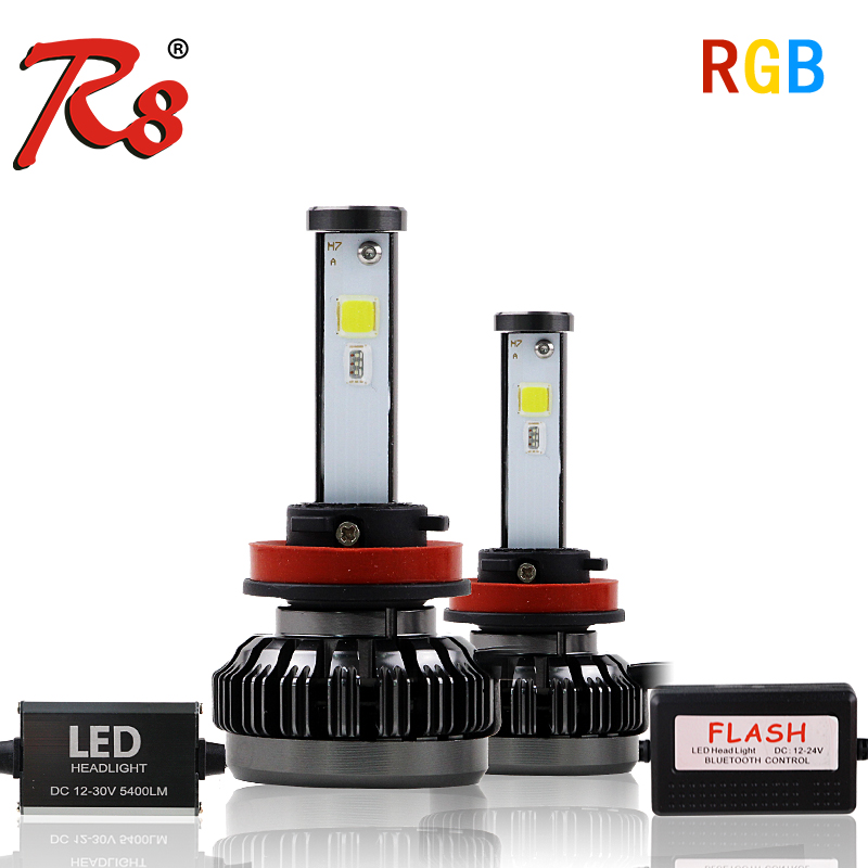 R8 New Car RGB LED Headlight H1 H3 H4 H7 H8/H11 9005 9006 880 9012 5202 LED Bulbs APP Bluetooth Control Multi-color 40W 6000LM 2xled headlight bulbs h1 h3 h4 h7 h11 h8 9005 9006 9012 hir2 auto headlamp 18000lm fog lights for toyota honda nissan mazda ford