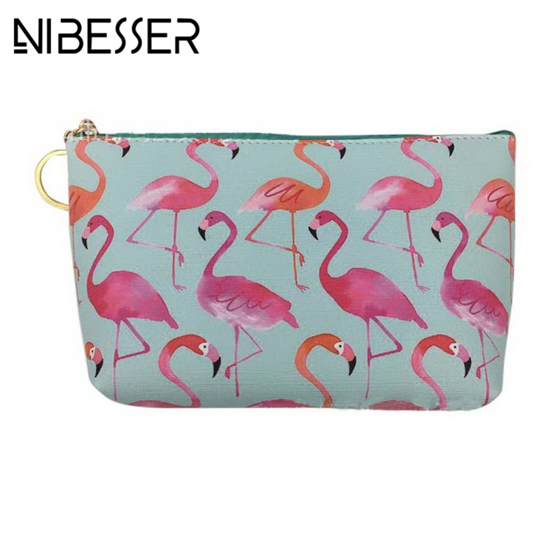 NIBESSER Sweet Flamingo Pu Leather Coin Purses Women Mini Wallet Lady Change Purse Kids Girl Pink Bird Strawberry Zipper Pouch