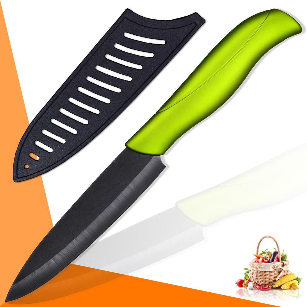 xyj marca handmade miglior coltello da cucina in ceramica nero balde verde maniglia di alta
