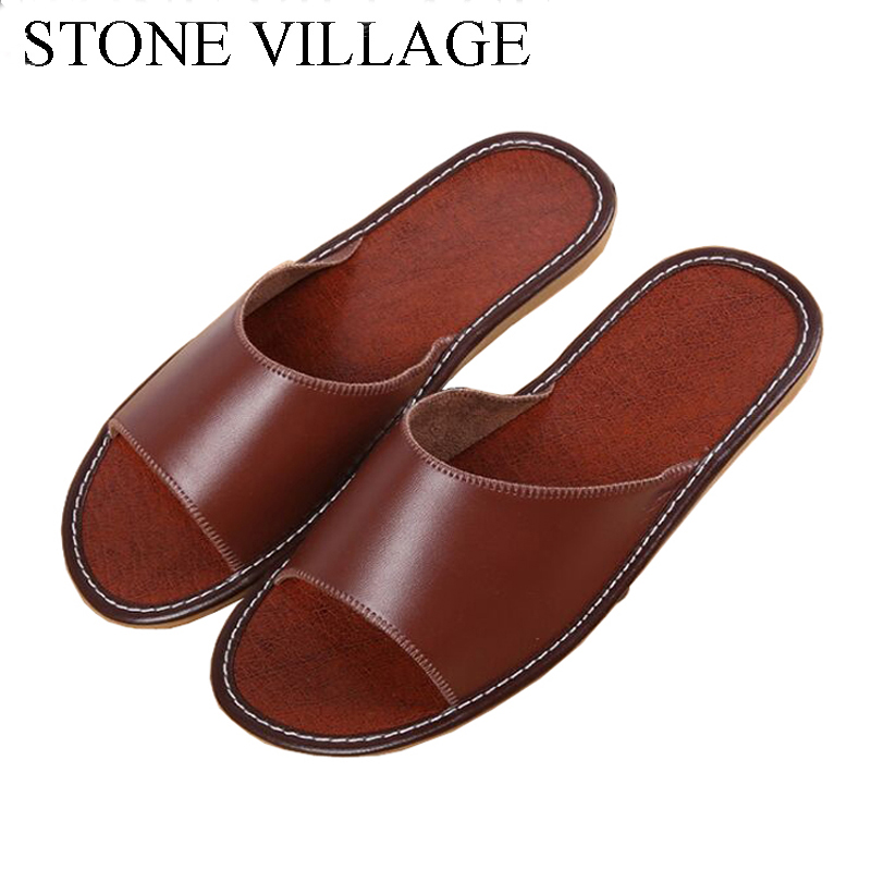 STONE VILLAGE Shoes Woman Solid Microfiber Leather Slippers Women Flat Indoor Flip Flops Women Adult Women Men Home Slippers
