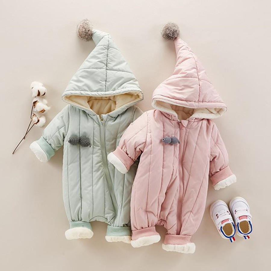 Baby Winter Jumpsuit Cotton Warm Baby Girl Rompers Solid Zipper Gooded Baby Costumes Newborn Baby Boy Clothes for 4-18M baby clothes baby rompers winter christmas costumes for boys girl zipper rabbit ear newborn overalls jumpsuit children outerwear