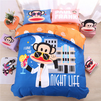 2018 cartoon bedding set 4pcs cotton duvet cover anime monkey bed sheets girls twill reactive printing bed linen home textiles