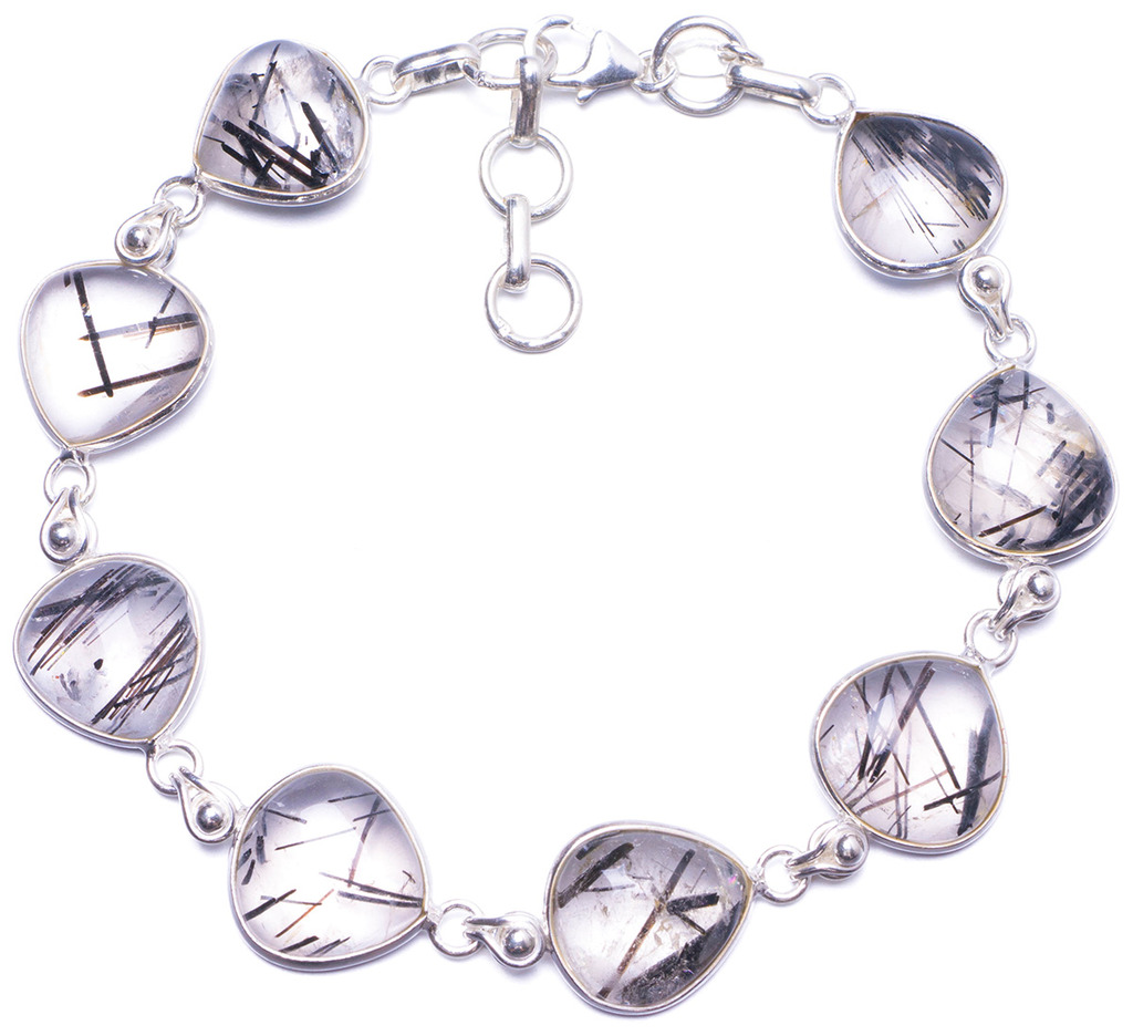 "Natural Tourmalinated Quartz Handmade Unique 925 Sterling Silver Bracelet 7 1/2-8 1/4"" Y1387"