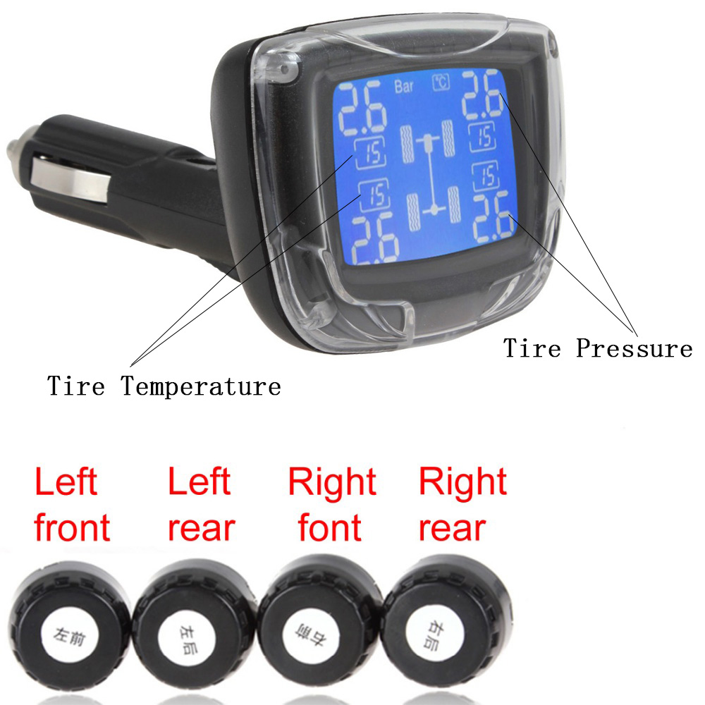 Auto Car TPMS Wireless Tire Pressure Monitoring System Cigarette Lighter with 4 Sensors LCD Display Monitor Socket