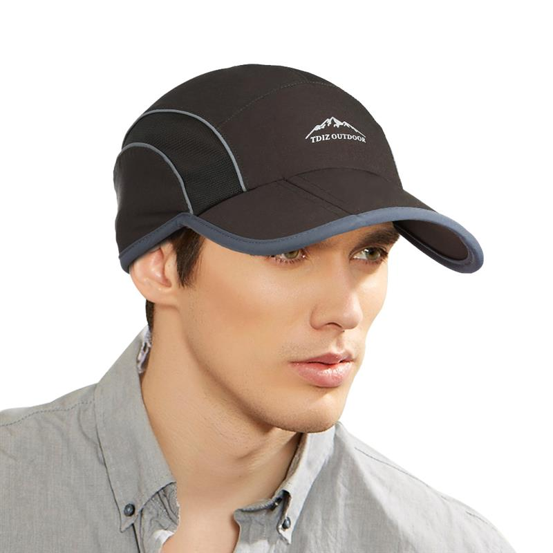 Vbiger Men Women Baseball Hat Foldable Outdoor Sun Cap Quick-dry Baseball Cap Peaked Cap with Reflective Stripe Sweatband