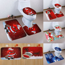 3PCs Santa Christmas Ornament Toilet Seat Cover and Rug Mat Bathroom Set Happy Xmas Decoration Hot Lovely Festival