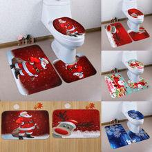 3PCs Santa Christmas Ornament Toilet Seat Cover and Rug Mat Bathroom Set Christmas Happy Xmas Decoration Hot Lovely Festival Set christmas decoration snowman pattern 3pcs toilet seat cushion cover set