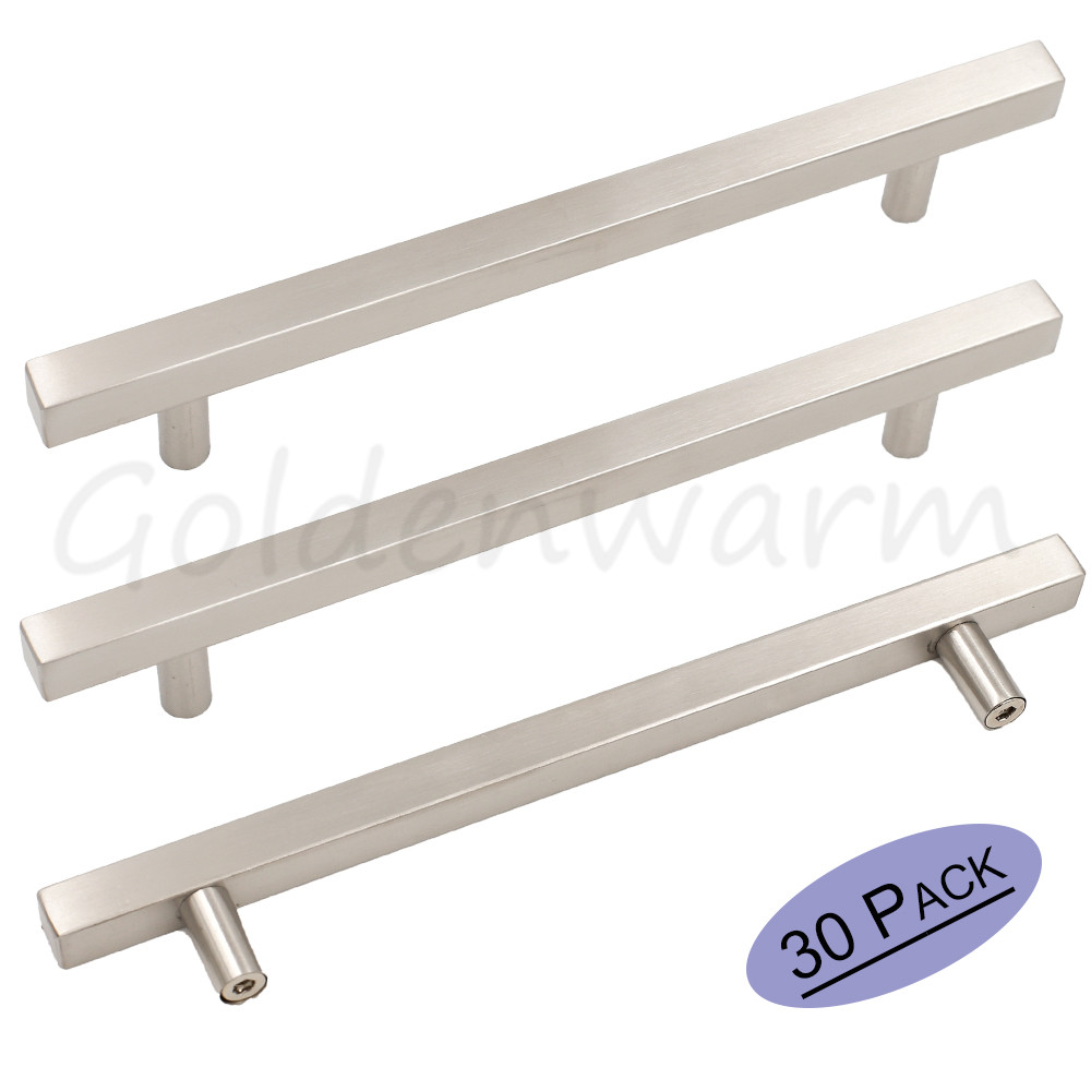 Drawer Pulls Kitchen Cabinet Hardware Goldenwarm Lsj22bss Brushed Nickel Stainless Steel Square T Bar Drawer Handles