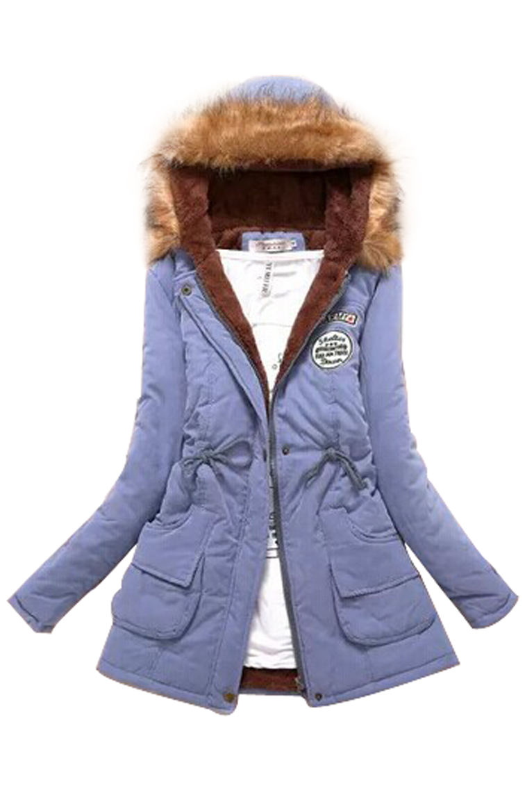 Fashion Women Hooded Fur Winter Thick Padded Long Coat Outerwear Jacket-Light 9 Colors Size S-XXXL