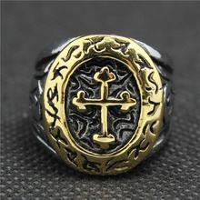 316L Нержавеющей Стали Прохладный Золотой Рыцарский Крест Серебряный Vintage Кольцо