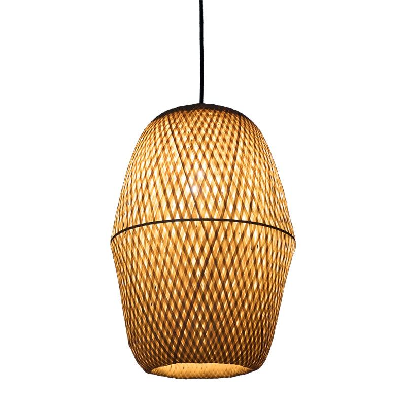 Подвесная лампа в китайском стиле, Бамбуковая художественная подвесная пасторальная лампа для ресторана, спальни, балкона, японский фонарь