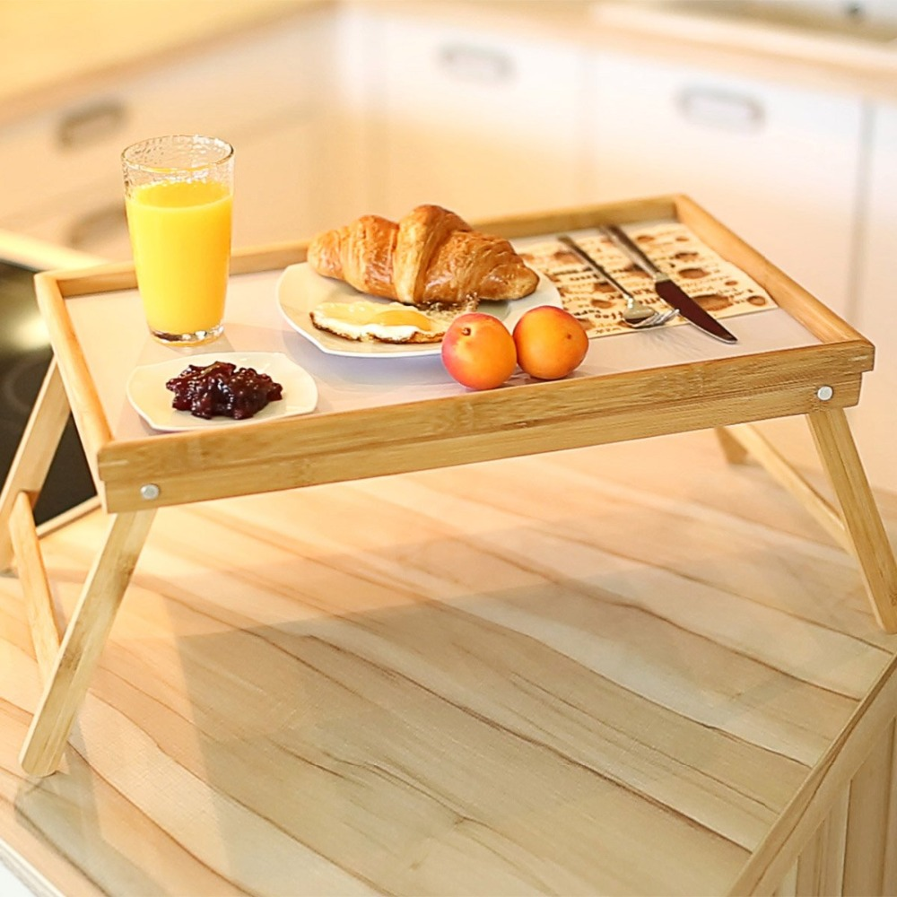 Bamboo Foldable Breakfast Table, Laptop Desk, Bed Table, Serving Tray  Tea Serving Table Stand New Laptop Stand Holder Notebook