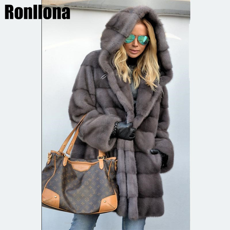 2018 New Real Mink Fur Long Coat With Hood Full Pelt Natural Fur Coats Women Overcoat