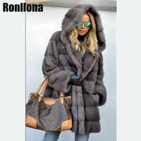 2019 neue Real Nerz Langen Mantel Mit Kapuze Full Pelt Natürliche Pelz Mäntel Frauen Mantel Winter Warme Jacke Echte luxus MKW-088