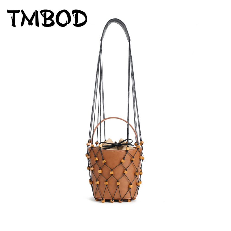 New 2018 Classic Designer Small Bucket Bag Hollow Out Tote Women Split Leather Handbags Ladies Messenger Bags For Female an1301 unique design women leather canvas women big tote bag knit hollow out basket bag lady brown shopping bucket bags famous designer