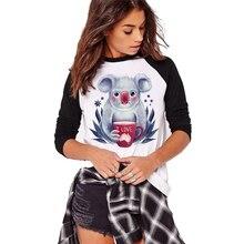 Women's Full Sleeve T shirt Kawaii koala Printed T-shirt Gir