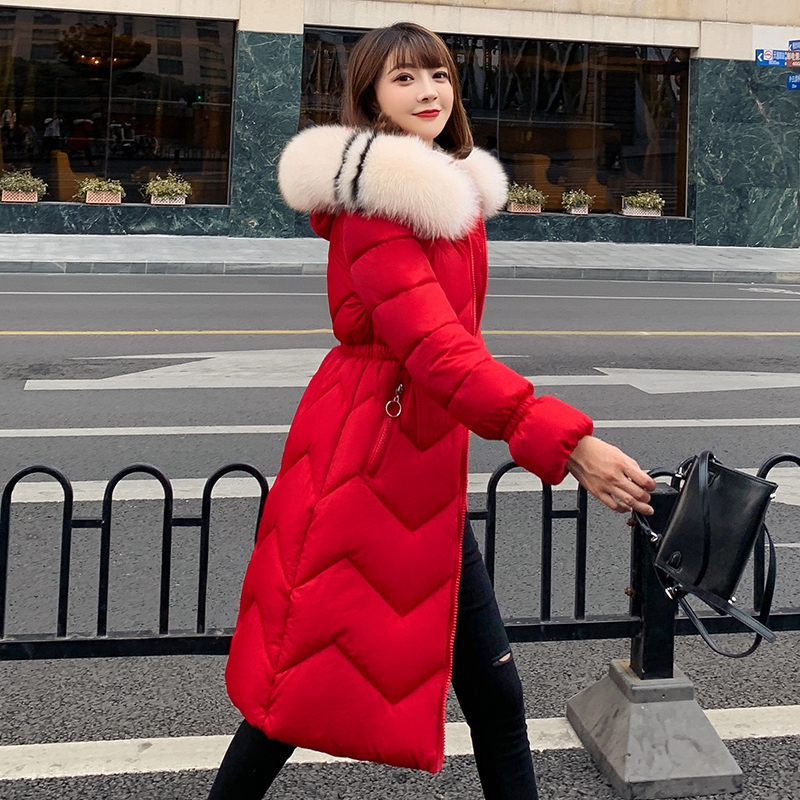 2019 New Down Cotton   Parkas   Women Jacket Winter Thick Warm Long Coats Plus Size Loose Female Hooded Fur Collar Cotton Overcoat