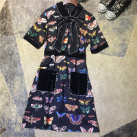 Women fashion brand cute dress pearls beads peter pan collar bow tie butterfly print short sleeve sweet dresses new 2017 autumn