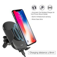 Infrared Sensor Automatic Clamping Car Suction Air Vent Mount Holder Qi Wireless Charger for iphone Huawei Xiaomi Smartphone