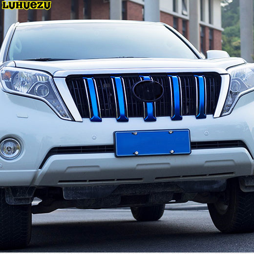 6PCS Stainless Steel Blue Color Front Grille Cover Trims For Toyota Land Cruiser Prado FJ150 Accessories
