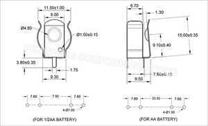 Image 5 - 5pcs/lot THM DIP Metal Stamping AA 1/2AA CR2 Battery Clip, AA 1/2AA CR2 Battery Holder