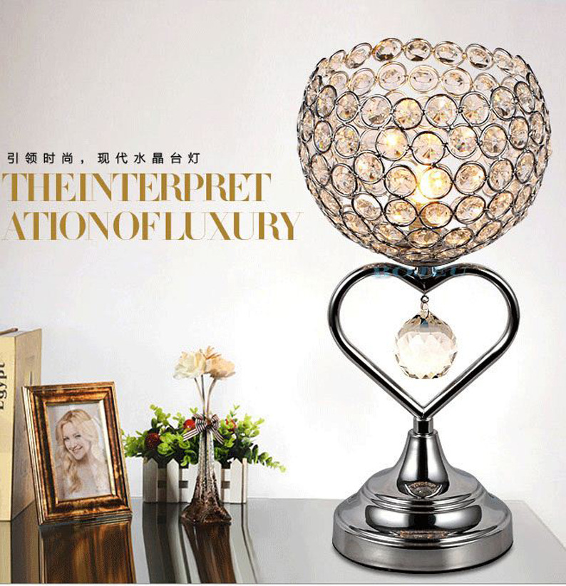 TUDA 27X46cm Free Shipping Creative Romantic Crystal Table Lamp Heart Shaped Iron Art Table Lamp For Bedroom Bedside Table Lamp tuda free shipping glass table lamp european retro style table lamp creative nostalgic table lamp for bedroom bedside desk lamp