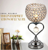 TUDA 27X46cm Free Shipping Creative Romantic Crystal Table Lamp Heart Shaped Iron Art Table Lamp For Bedroom Bedside Table Lamp