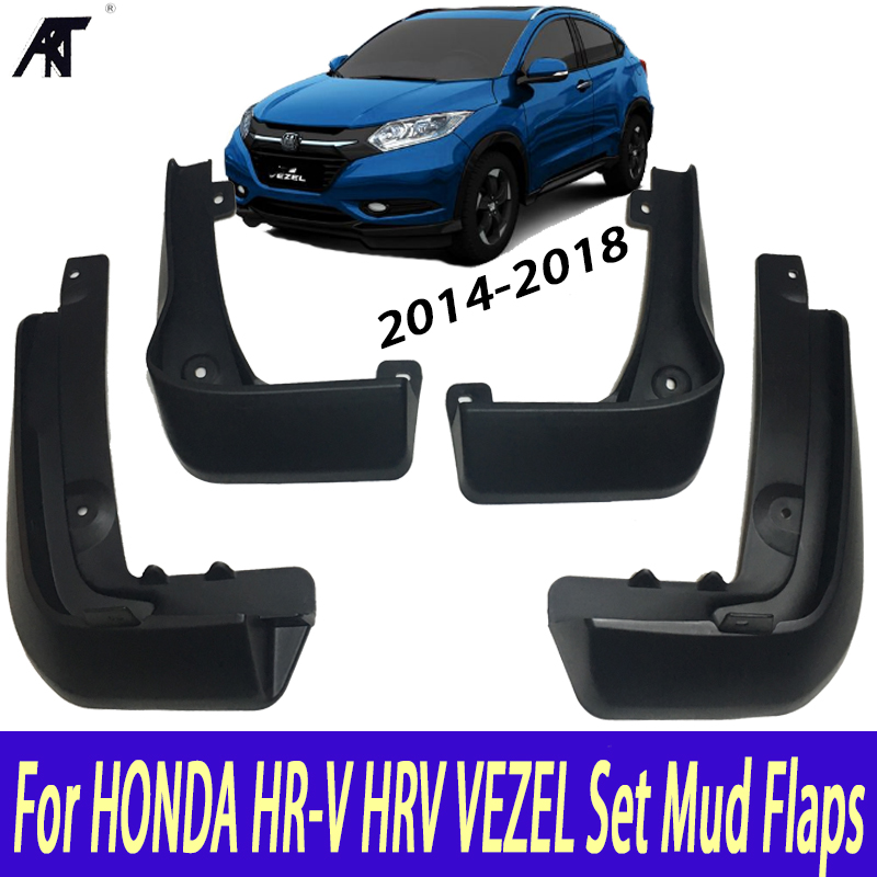 Mud Flaps For HONDA HR-V HRV VEZEL 2014-2018 Set Mud Flaps Mudflaps Splash Guards Front Rear Mud Flap Mudguards Fender 2015 2016 4pcs front rear mud splash flaps guard fender for benz v class vito metris viano w447 2015 2016 with running board