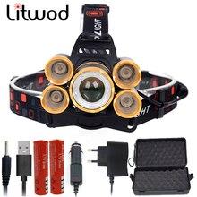 Litwod Z20 CREE светодиодный налобный фонарь XM-L T6, налобный фонарь, фонарь 20000 люмен, масштабируемый перезаряжаемый аккумулятор 18650