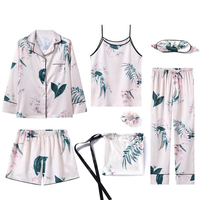 Pajamas Set Women Silk Summer Sexy Flower Pyjamas Sexy Female Long Sleeve Shirt Pants Handwork Stitch Lingerie Striped Sleepwear 38