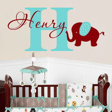 цена на Wall Elephant Name Decal Initial Custom Personalized Girls Boys Name Baby Decor Sticker Nursery Children Room Vinyl Mural W-63