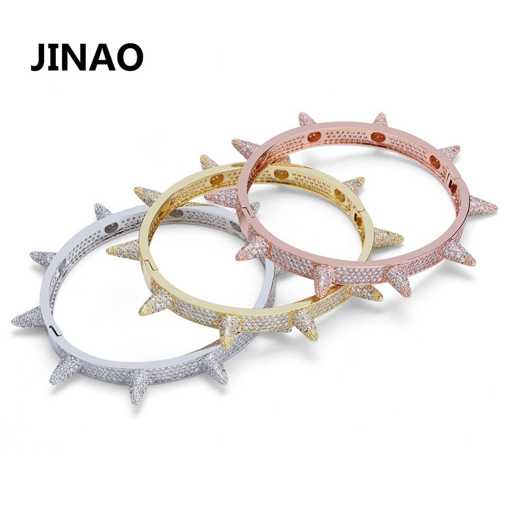 Luxury Iced Out Bling Cubic Zircon Hip Hop Rose Gold Silver Rivet Bracelets Spike Bangles Gifts for Men Women topgrillz spikes rivet stud mens rivet charm bracelets 2018 iced out gold silver color bracelets for men hip hop punk jewelry